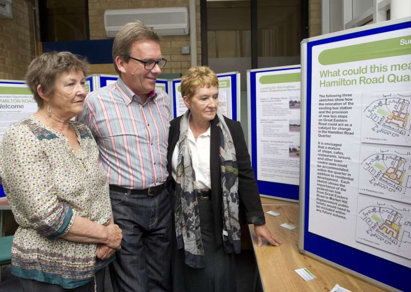Councillors at the Bus Station Exhibition''Pictured: Sue Ayres (Deputy Mayor), David Holland (Town and District councilllor) and Ellen Murphy (Town Councillor) ANL-150707-145155009
