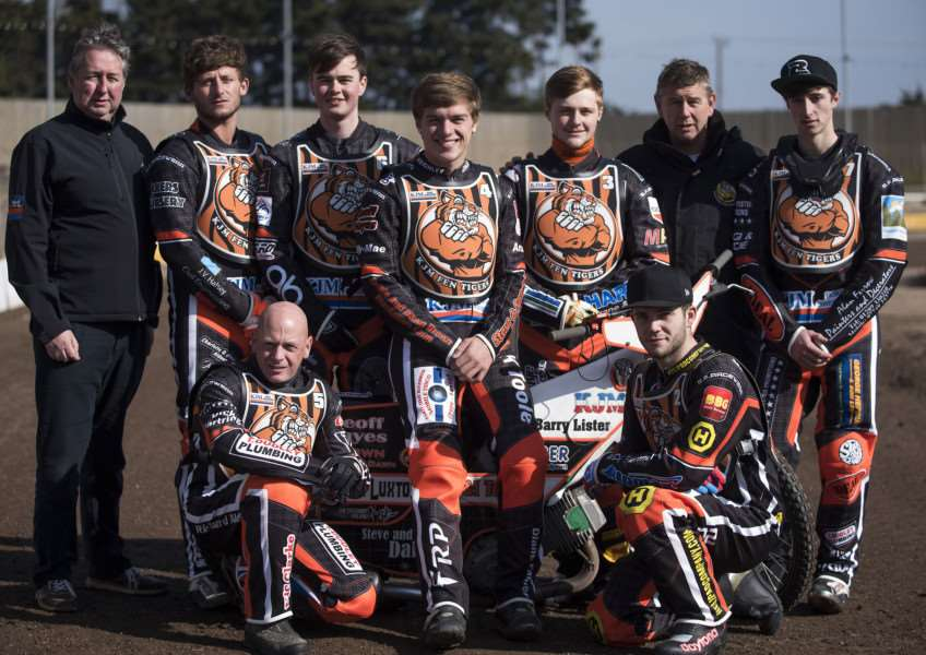 Mildenhall Fen Tigers Press and Practice day.'1 Dan Halsey 2 Alfie Bowtell 3 Connor Mountain 4 Connor Coles 5 Jon Armstrong 6 Rob Parker 7 Luke Ruddick with Phil Kirk and Kevin Jolly'Picture Mark Westley ANL-160315-075835009