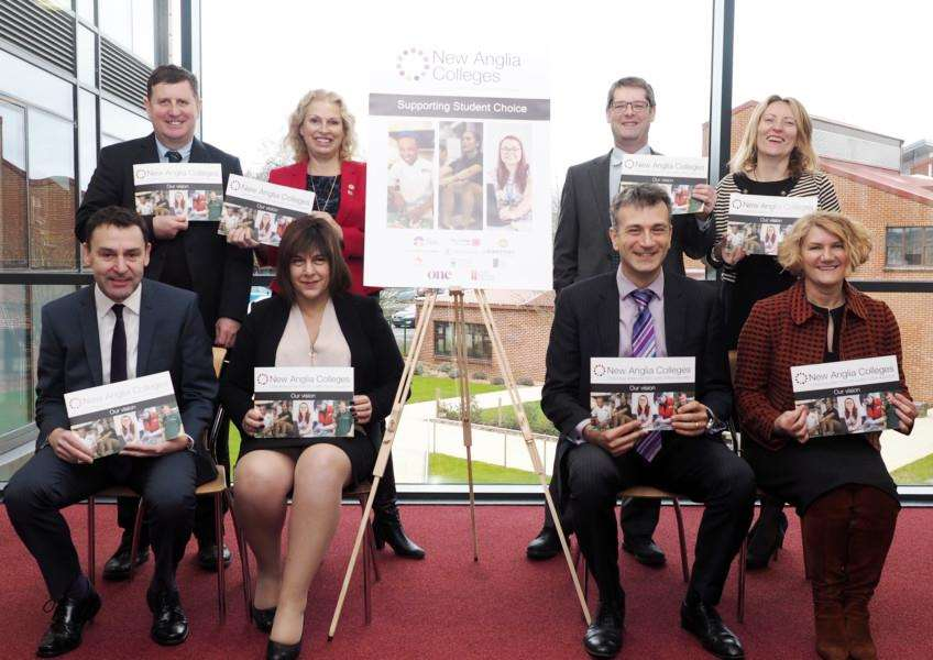 New Anglia Colleges Group. Pictured are the principals of some of the FE colleges. Back: Kevin Grieve, Paston Sixth Form College, Corienne Peasgood, City College, Norwich, David Henley, Easton and Otley College, Dr Catherine Richards, East Norfolk Sixth Form College; Front: Alan Whittaker, Suffolk One, Viv Gillespie, Suffolk New College, Dr Nikos Savvas, West Suffolk College and Jo Pretty, Lowestoft College