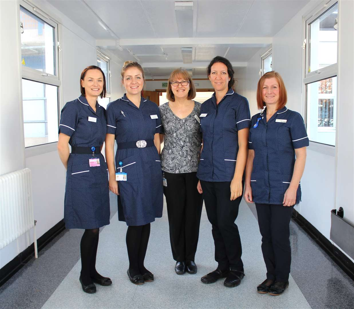 Some of the maternity team at West Suffolk NHS Foundation Trust: (From left to right) Justyna Skonieczny, maternity ward manager, Robyn Harris, senior midwife, Karen Bassingthwaighte, acting maternity outpatient services manager, Cathy Adkins, senior midwife, and Nina Fawcett, community midwives team leader. (5349341)