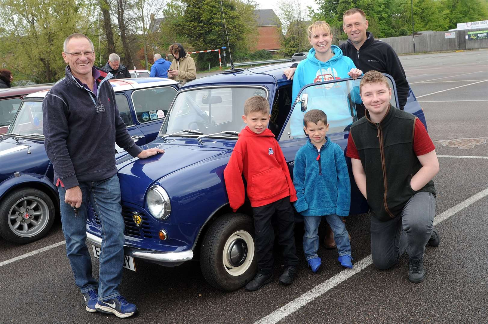 Bury Mini Club 'Suffolk Run'..Pictured: Chris Denny and family with his 50th birthday present - a 1982 Mini Van 95 ...PICTURE: Mecha Morton.. (9317928)