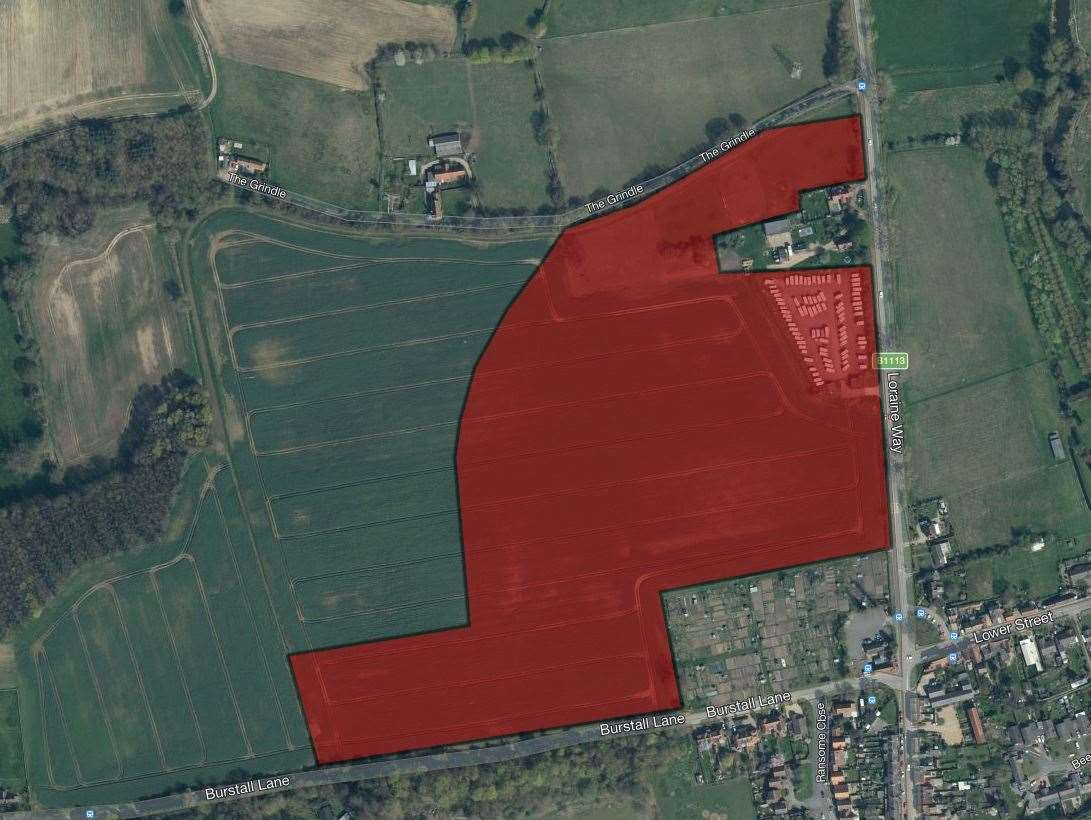 Babergh District Council's planning committee will be advised to approve plans to build 92 houses in Sproughton, in land just off Burstall Lane. Picture: Microsoft