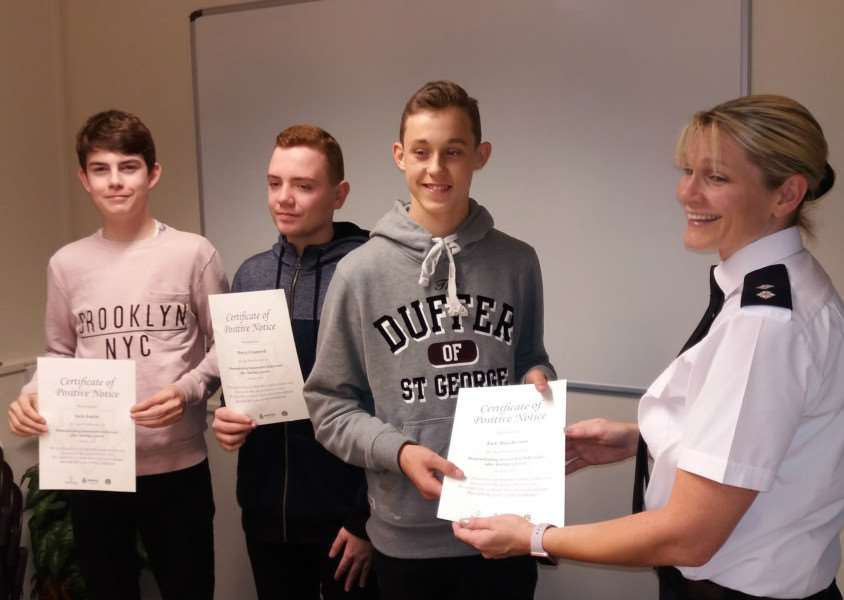 The first youngsters to get Norfolk Police Positive Notices for honourable behaviour were, from the left, Jack Austin, Harry Cromwell and Jack Hutcherson from Thetford ANL-160311-094901001