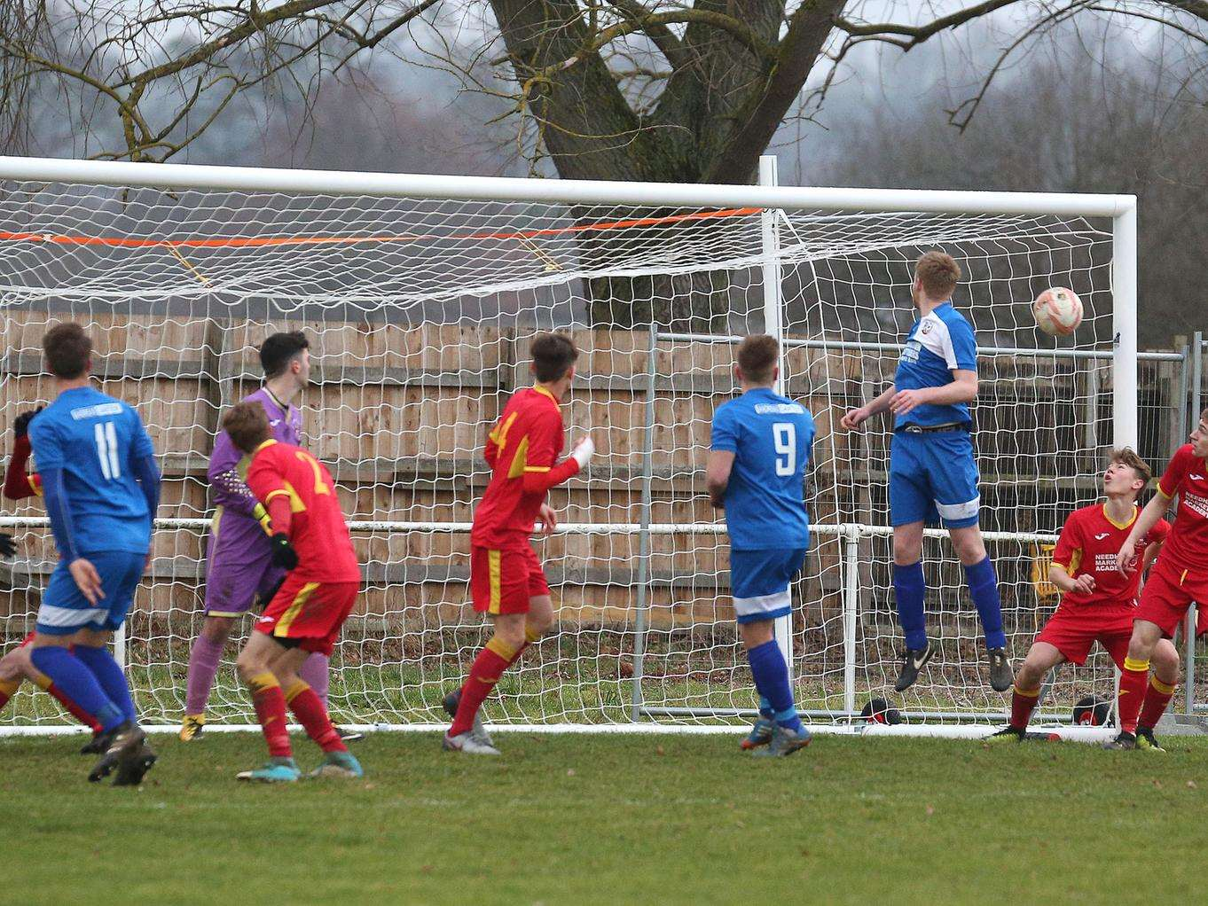 GOALMOUTH ACTION: Cornard go for goal against Needham Market Reserves. Picture: Richard Marsham