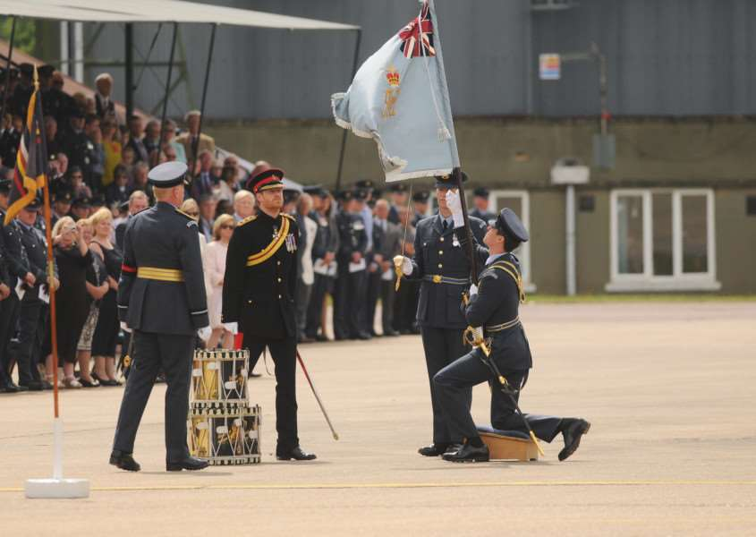 On behalf of Her Majesty the Queen, HRH Prince Henry of Wales presented the new colour at RAF Honington. Picture: Ian Burt