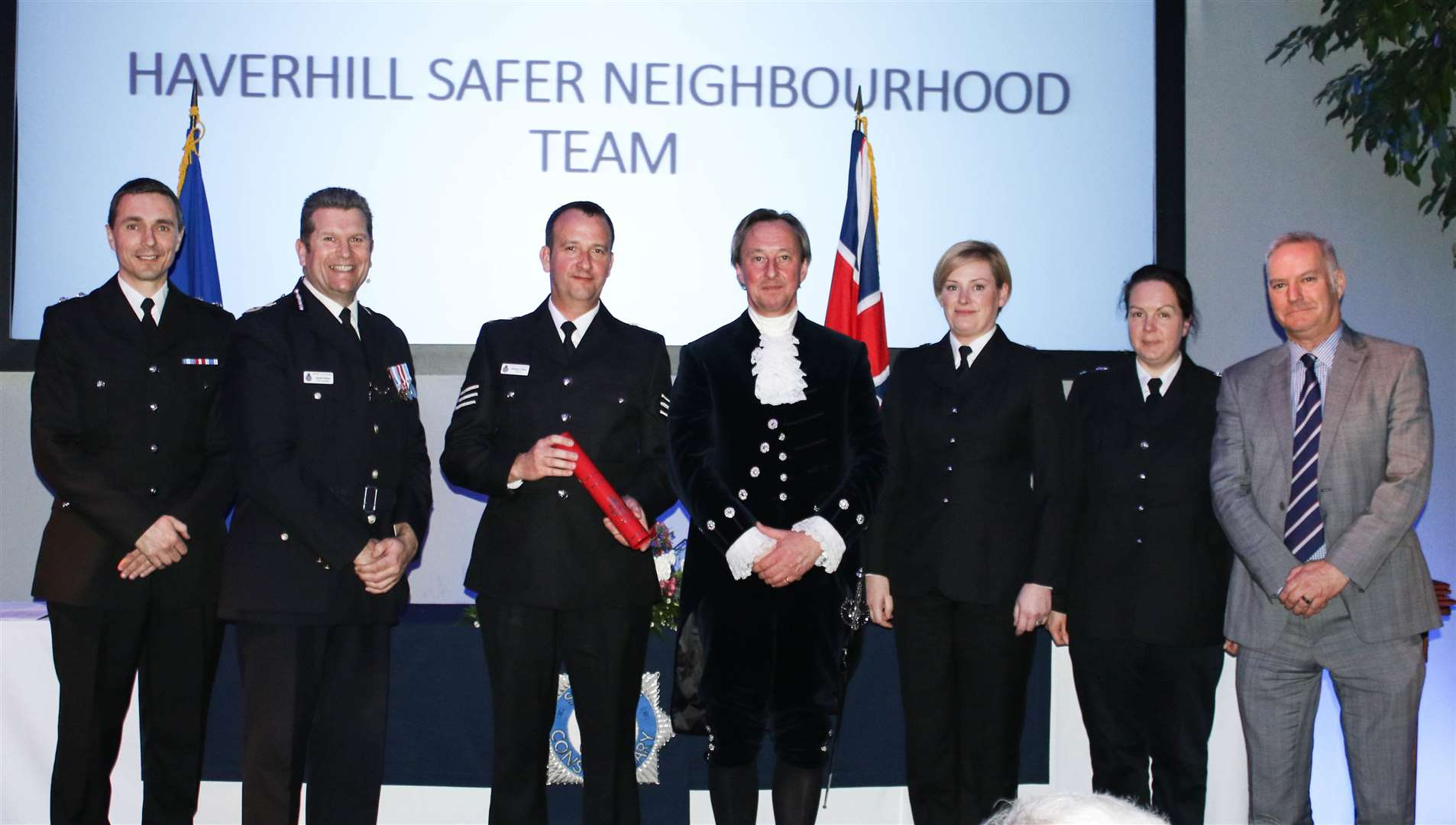 The Haverhill Safer Neighbourhood Team collect its award at the Suffolk Contabulary Annual Awards event. Picture: Suffolk Police
