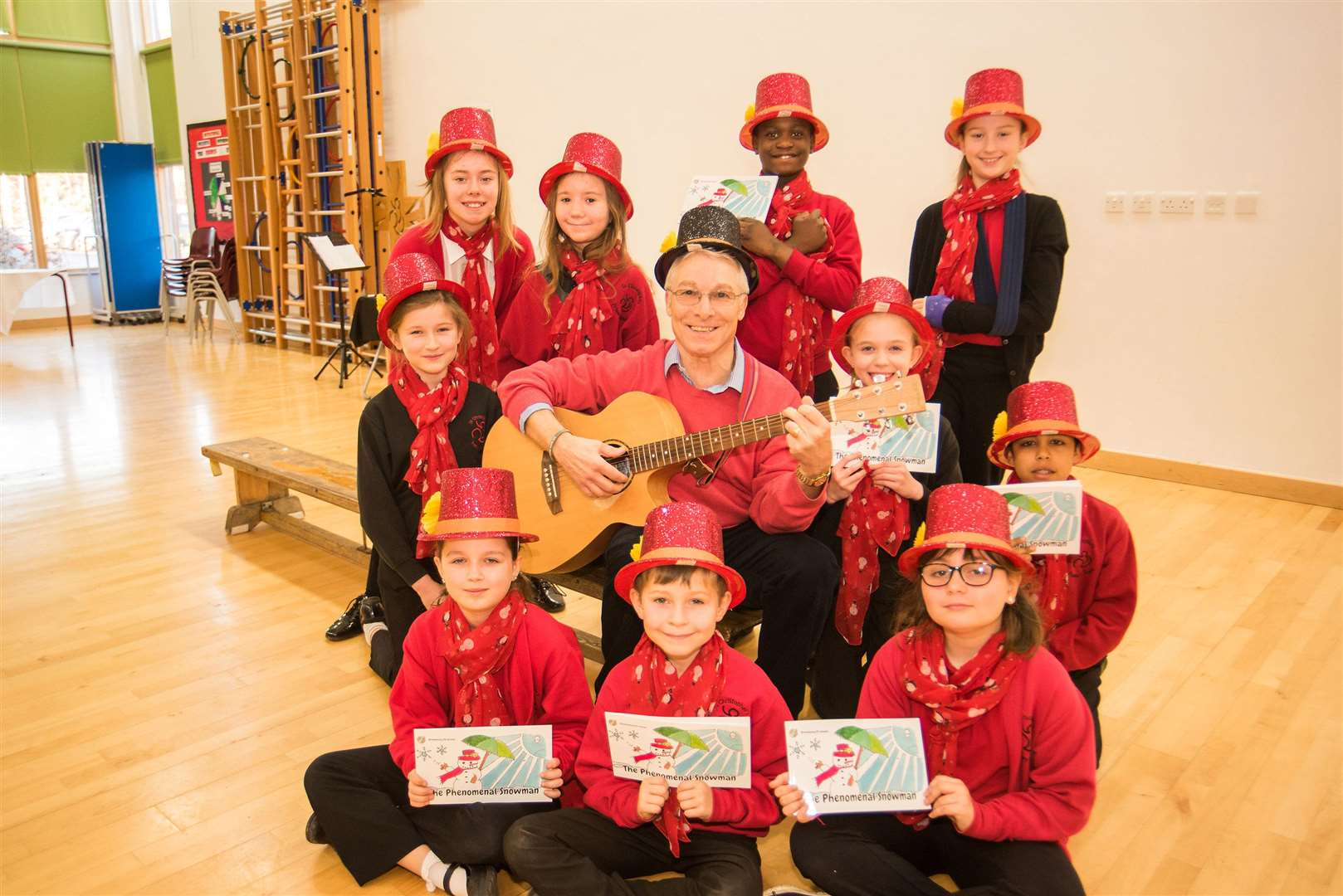 Kevin Bullock with pupils from St Christopher's Primary School. Picture: Mark Westley.