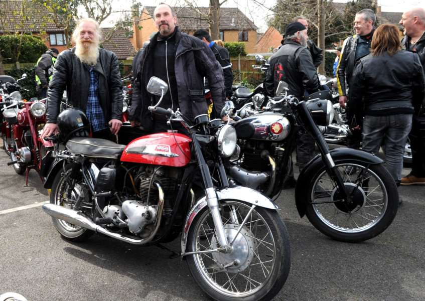 The Suffolk Classic Motorcycle Show''Pictured: Trevor Large with his 1966 Norton Atlas and Martyn Guest and his 1958 BSA Golden Flash ANL-161004-205624009