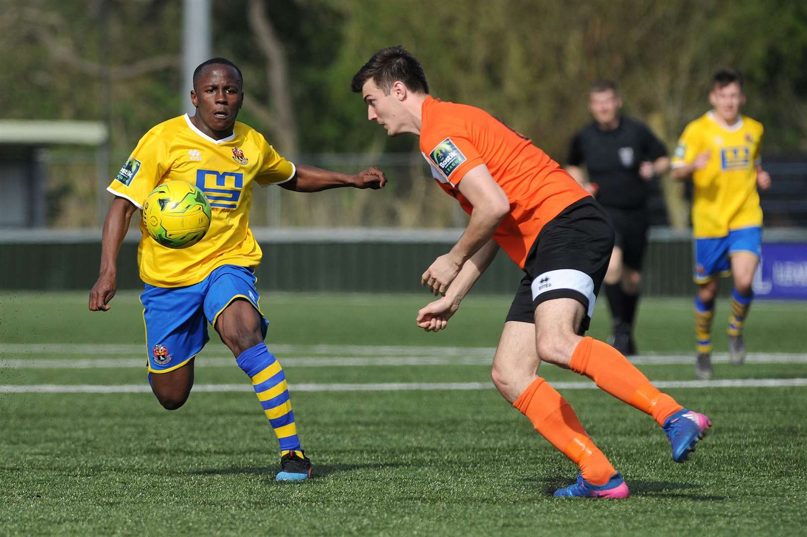 FOOTBALL - AFC Sudbury v Bury Town FC...Pictured: Panashe Mundawarara (S) and Kyran Clements (B)...PICTURE: Mecha Morton.... (8983078)