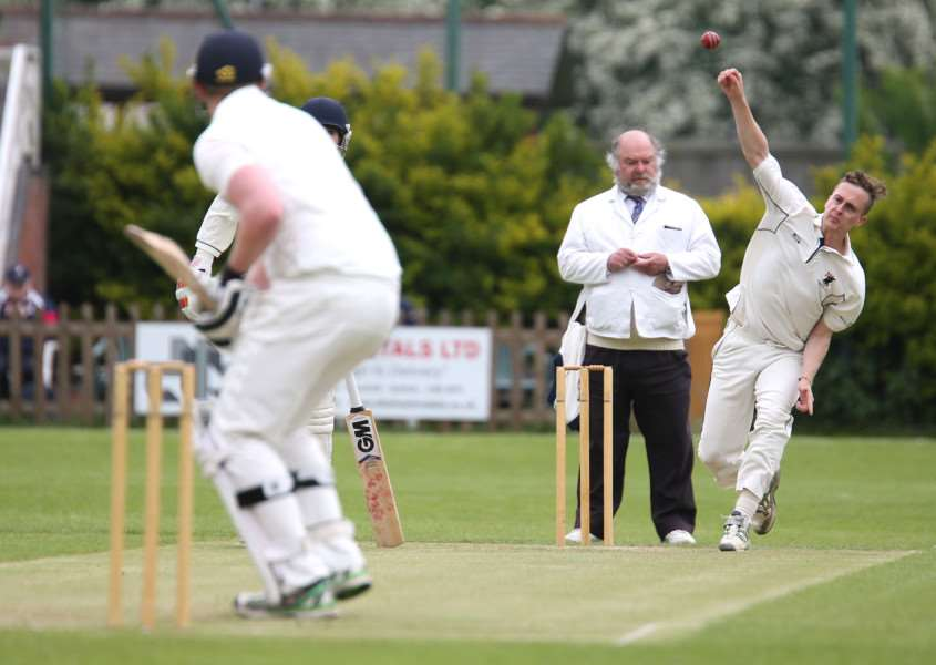 Joe Woodley, pictured bowling against Ipswich, took 4-31 for Haverhill in their five wicket win against Sudbury IIs