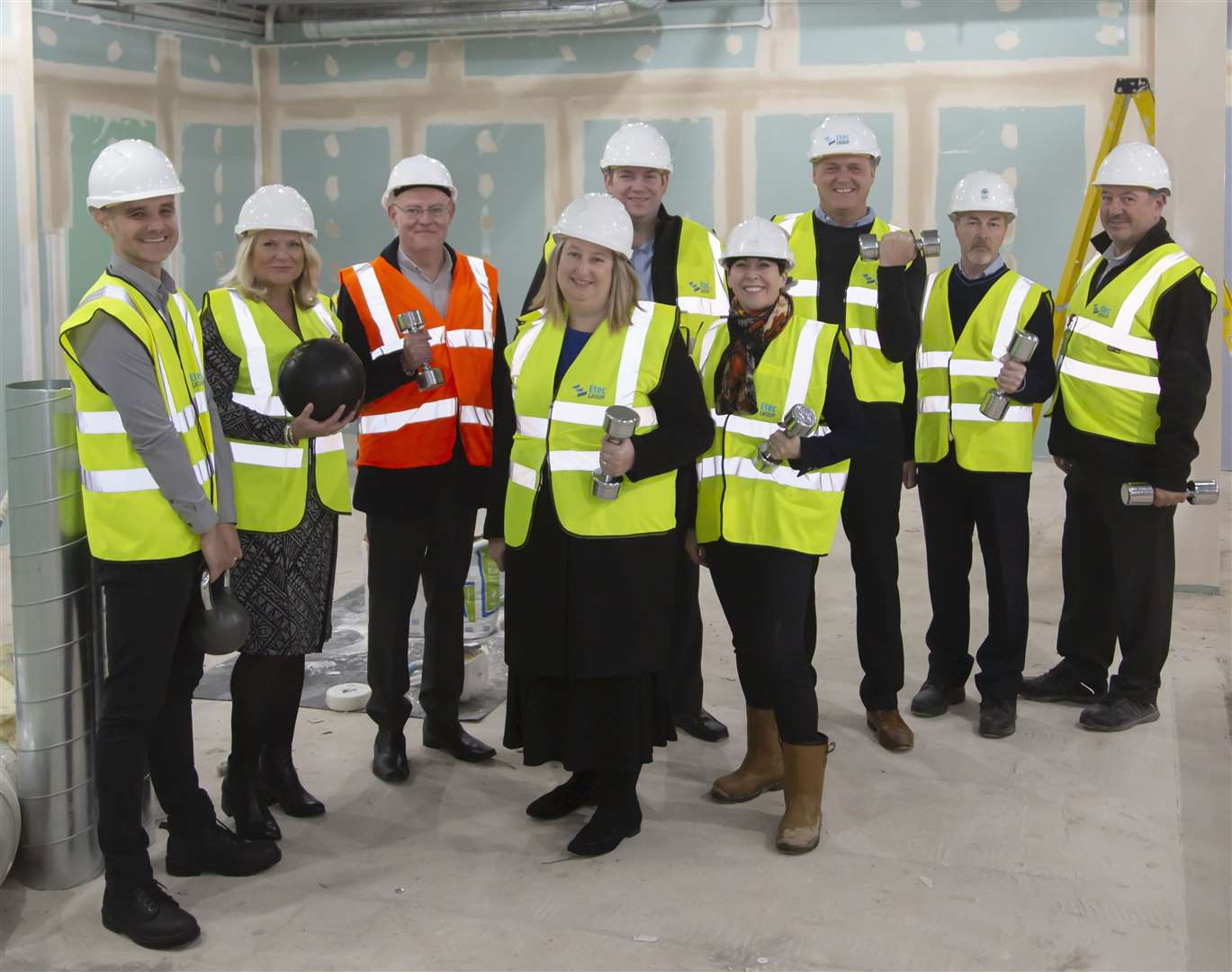 Cllr Jo Rayner, centre, and the project team who are delivering the £1.8m upgrade underway at Newmarket Leisure Centre (20902298)