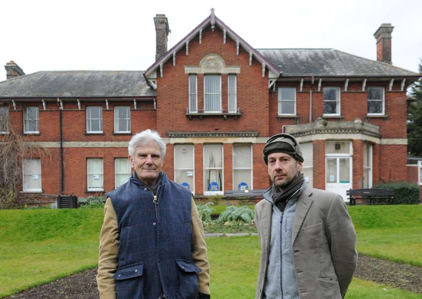 Theo Bird and others are attempting to get Belle Vue listed with historic England, to prevent it's potential demolition ''Pictured: Andrew Phillips, Lord Phillips of Sudbury and Theo Bird ANL-160903-064913009
