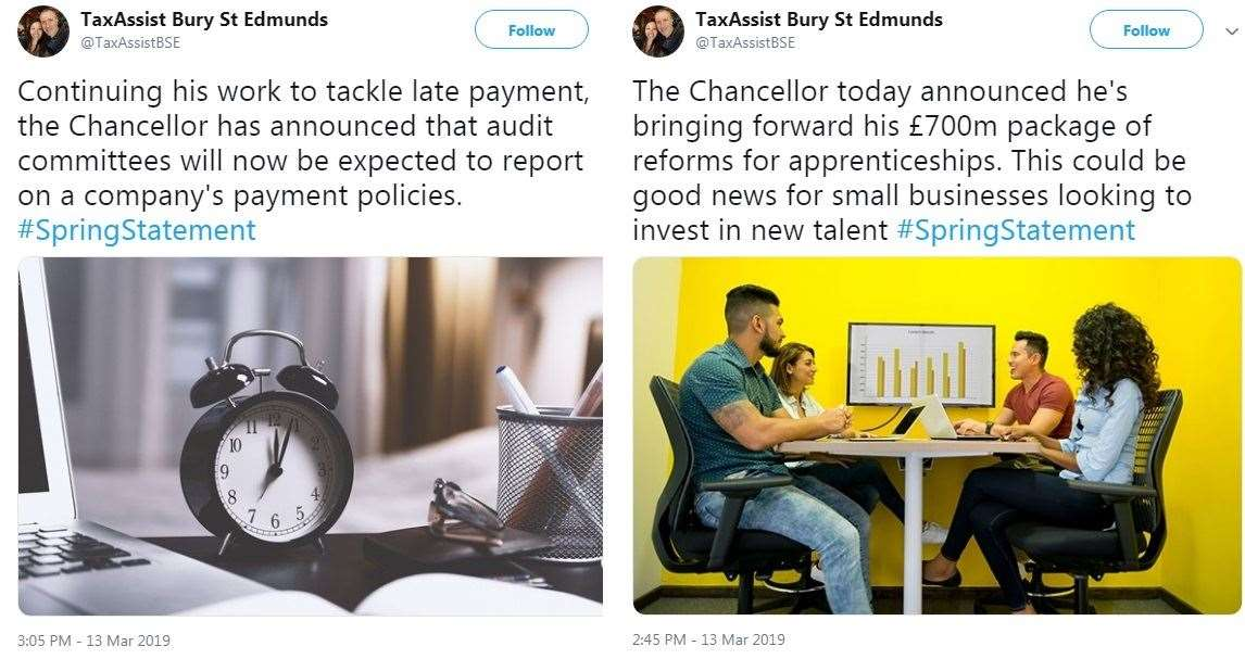 TaxAssist Bury St Edmunds tweeted after the statement (7787138)