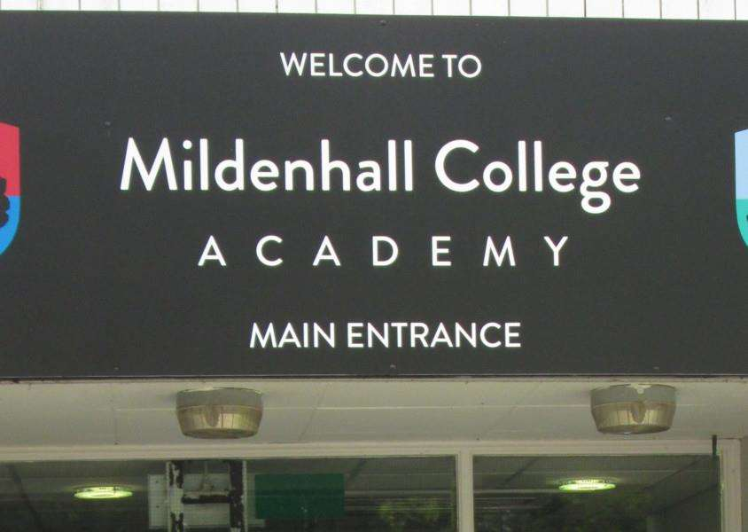 Mildenhall College Academy's sign ANL-160728-094204001