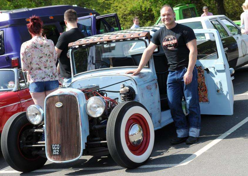 Julian Blakeman with his Ford bodied Rat Rod 32 which won best custom car