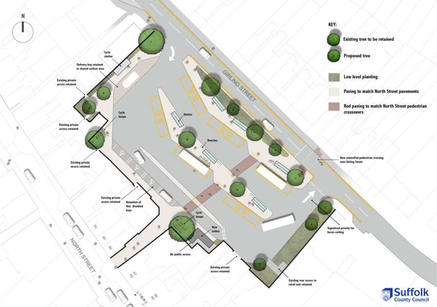Plans for Sudbury's new bus station in Girling Street car park. ANL-160928-171750001