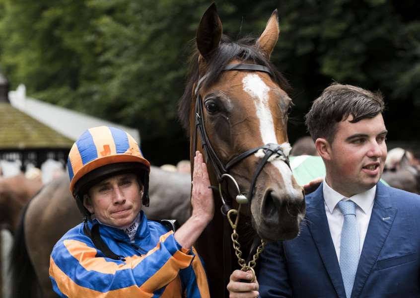 WINNING COMBINATION: Ryan Moore gives Clemmie a pat after their Duchess of Cambridge Stakes win