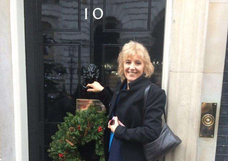 Shirley Moore, CEO of The Befriending Scheme, at Number 10 Downing Street. ANL-161229-124609001