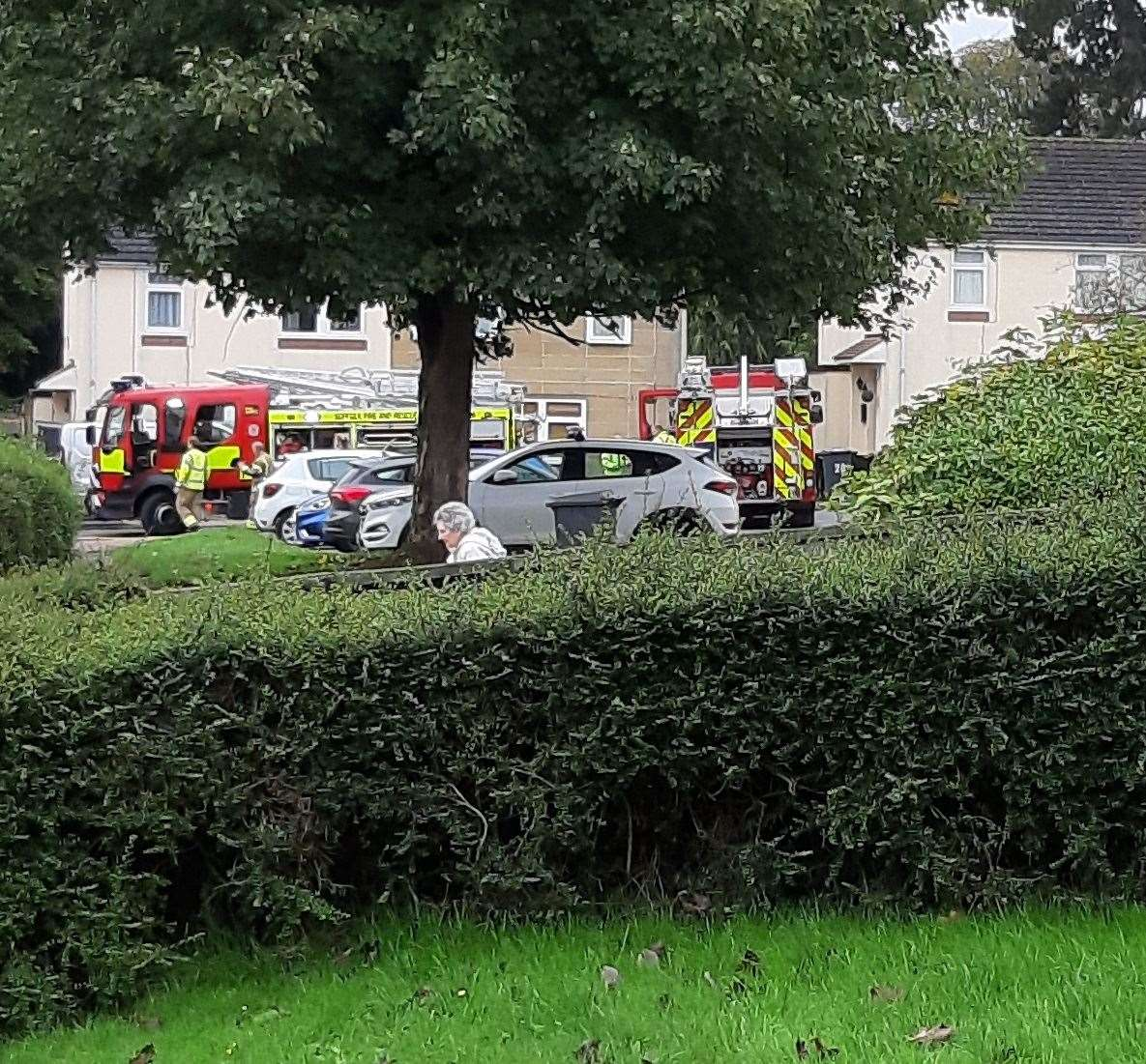 Firefighters outside the house in Chestnut Close following the kitchen fire
