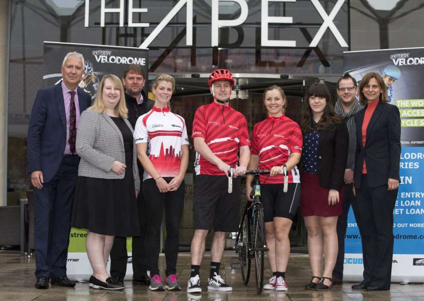 John Stockwell and Tanya Griffiths with sponsors and supporters Anna Glowinski, cyclist and TV presenter; Carl Thompson Velodrome, series director; Colin Grogan, Joanna Rayner, Alison Blackwell, Gay Atyes, Jessica Nelson and Ian Evans, of Abbeycroft Leisure