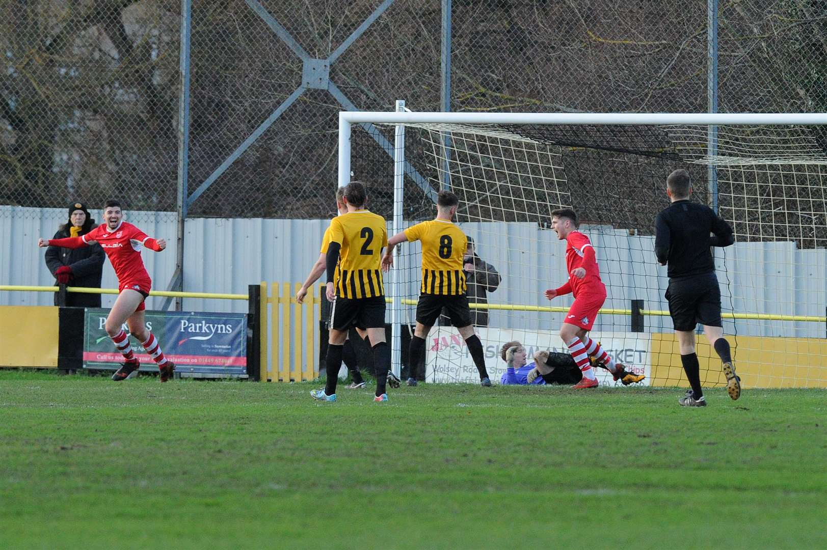 FOOTBALL - Stowmarket Town FC v Ely City..Pictured: Ely score their first goal....PICTURE: Mecha Morton. (6191296)