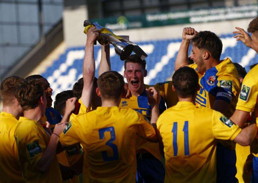 CUP TRIUMPH: AFC Sudbury Under-18s celebrate their Suffolk U18 Midweek Cup success as they look to tie up another quadruple for the club. Picture: Phil Chaplin
