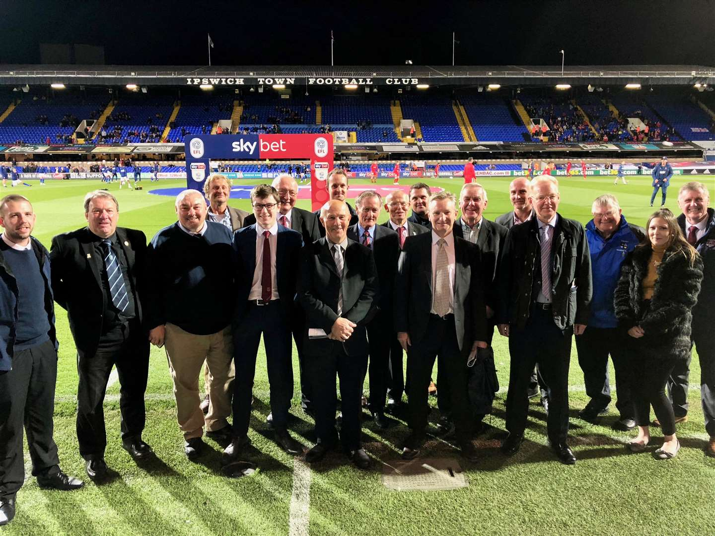 Suffolk FA Awards winners 2018 – Awards winners pictured on the pitch at Portman Road before the Ipswich versus Middlesbrough match Picture: Suffolk FA (4662952)