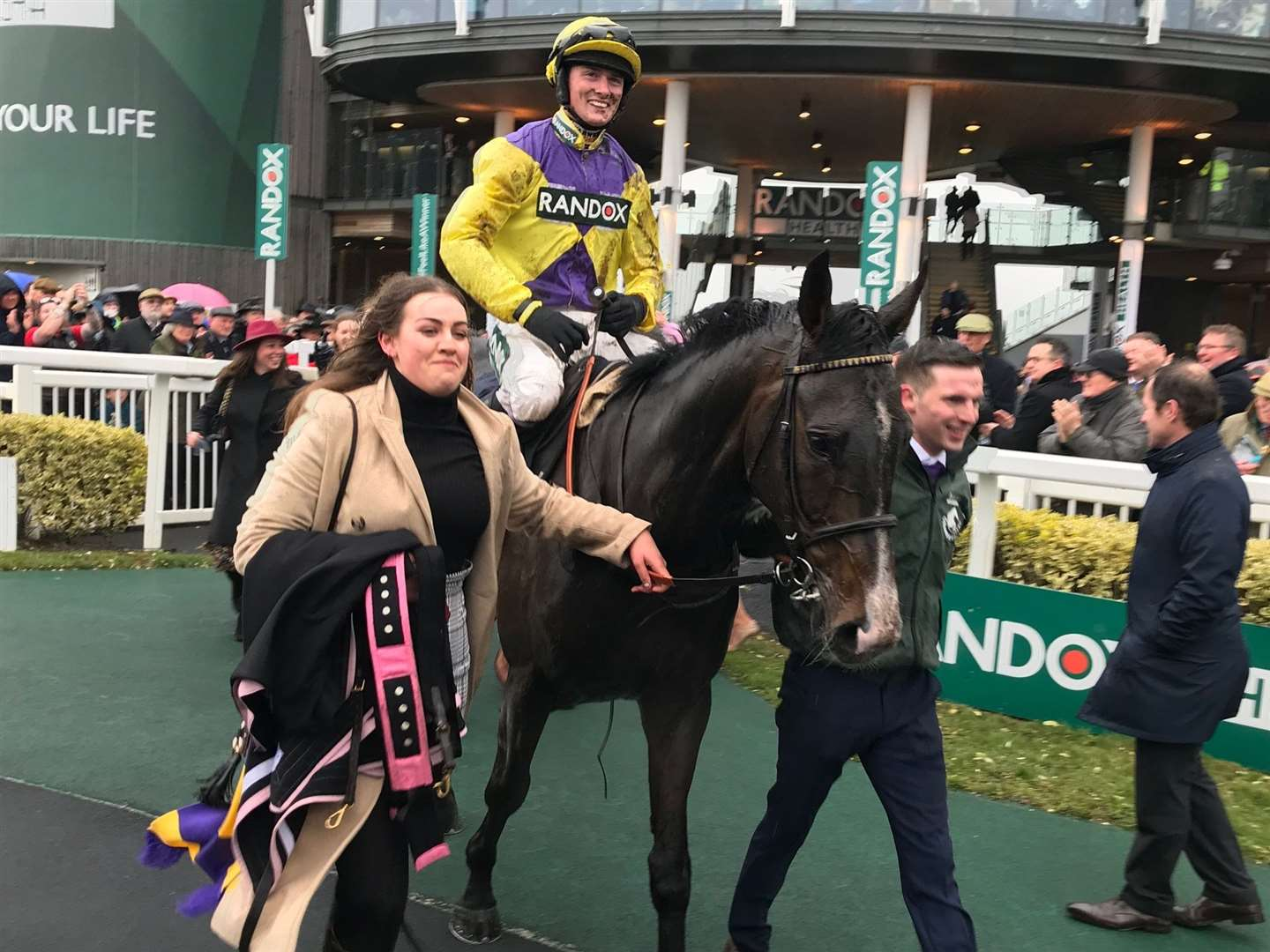 Jack Quinlan and Kalashnikov after taking the Grade 1 opening race at the Grand National Festival at Aintree on Thursday (8284874)