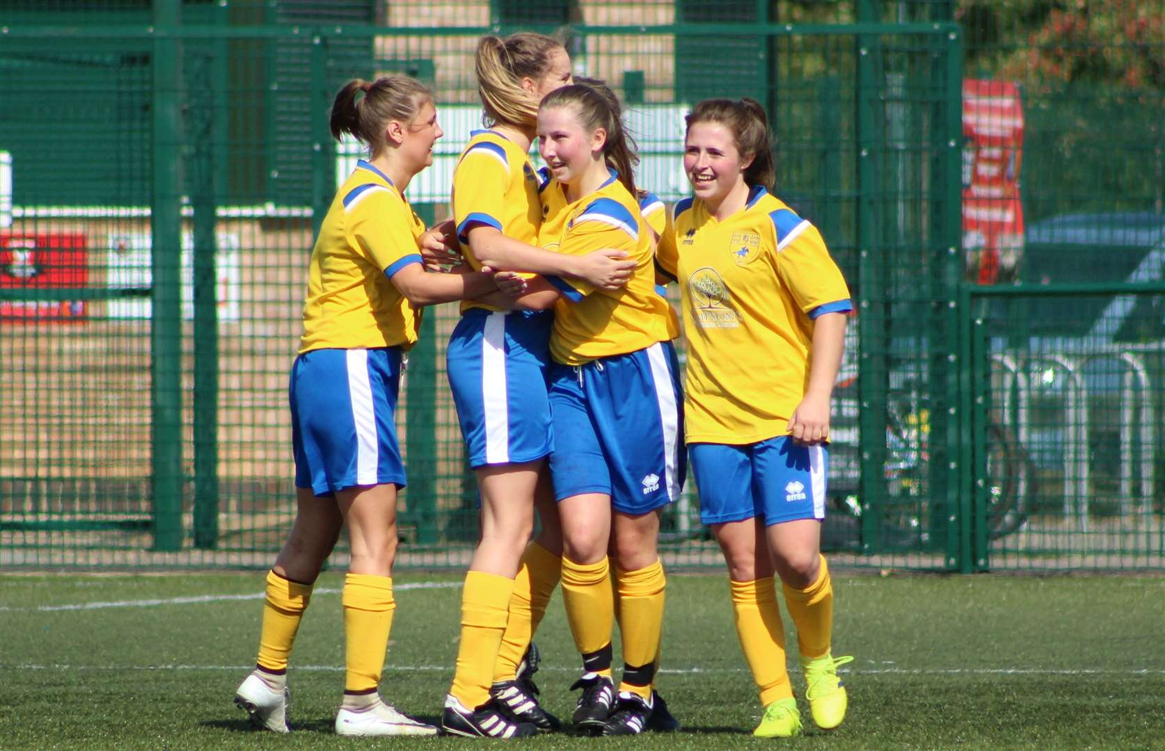 Newmarket Town Ladies celebrate a goal during their FA Cup tie at Netherton. Picture: Gary Reed Photography (16108686)