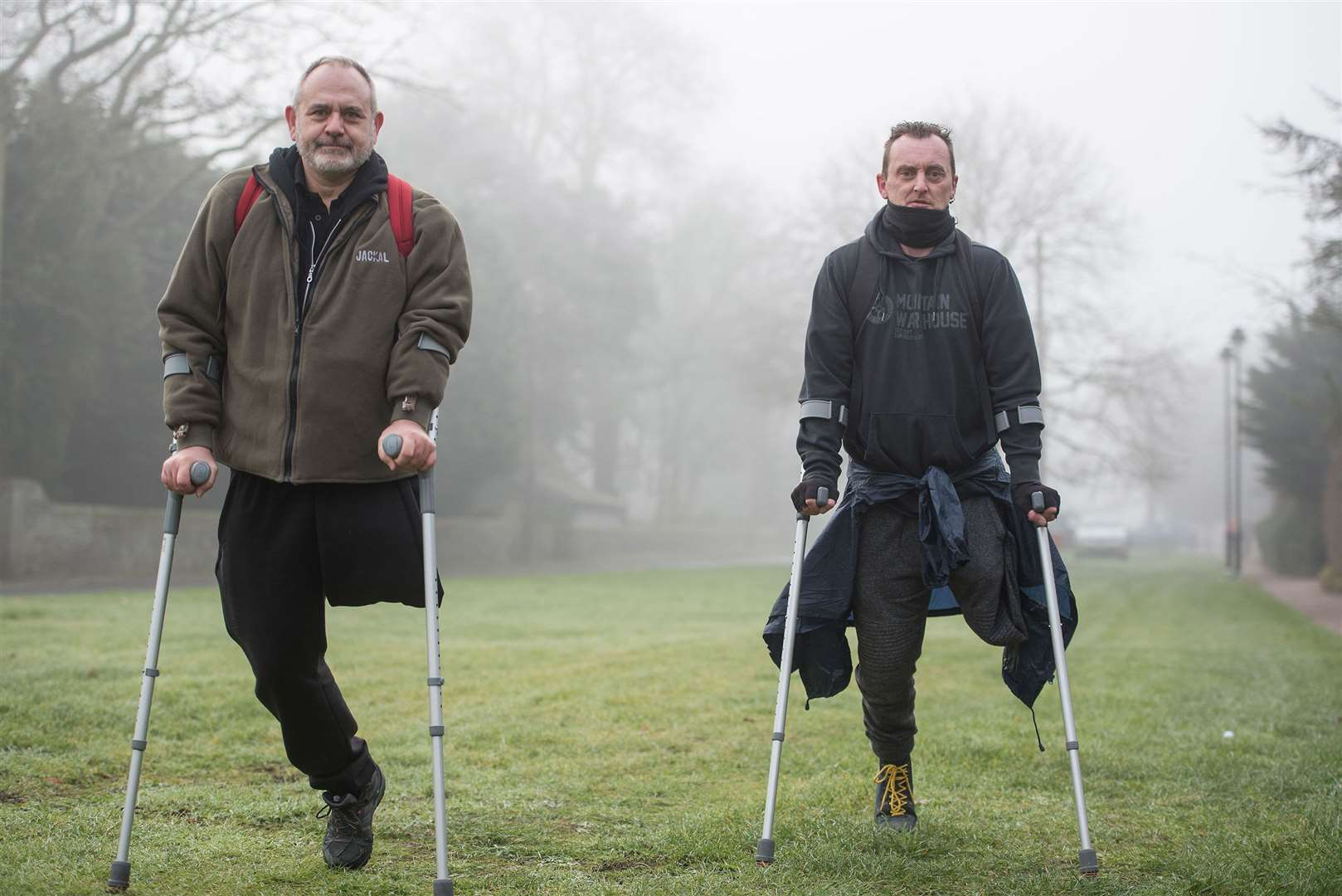 The pair aim to do the challenge, set to start on March 1, by walking on crutches and using rowing machines with their individual distances totalled on an app.. Picture by Mark Westley