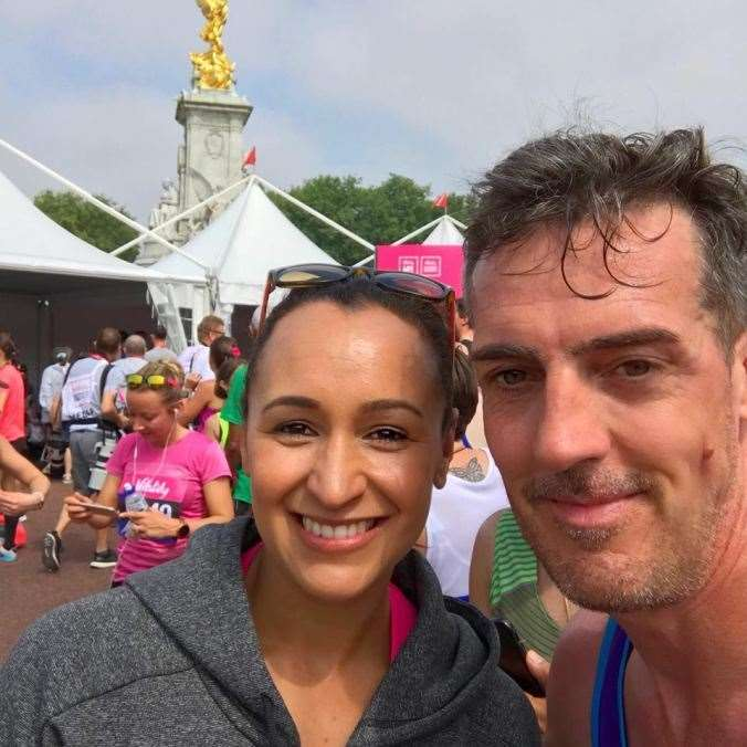 Neil Mustoe met Olympic Jessica Ennis at Vitality event in London 2018