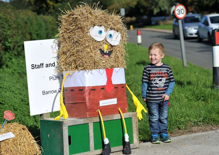 Barrow scarecrow festival''Pictured: Jake Chaplin (3) with Spongebob Squarepants ANL-150927-190458009