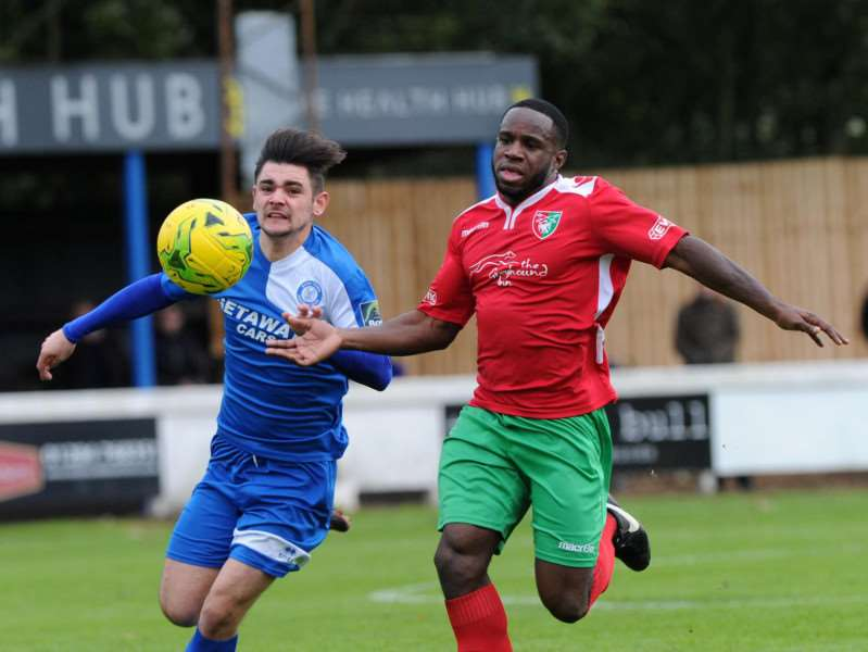 PERSISTENCE: Cemal Ramadan kept trying against Chalfont St Peter and saw it pay off, his looping header forcing an error and an own goal in the dying minutes of the game (PICTURE: Mecha Morton)
