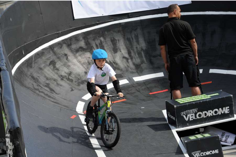 Street Velodrome in the Arc, Bury St Edmunds. Schools day''Pictured: Abbots Green Primary School ANL-160715-130509009