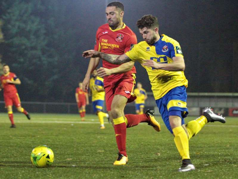 MOVING ON: Jake Clowsley in action for AFC Sudbury against Needham Market in the Suffolk Premier Cup earlier this season Picture: Clive Pearson