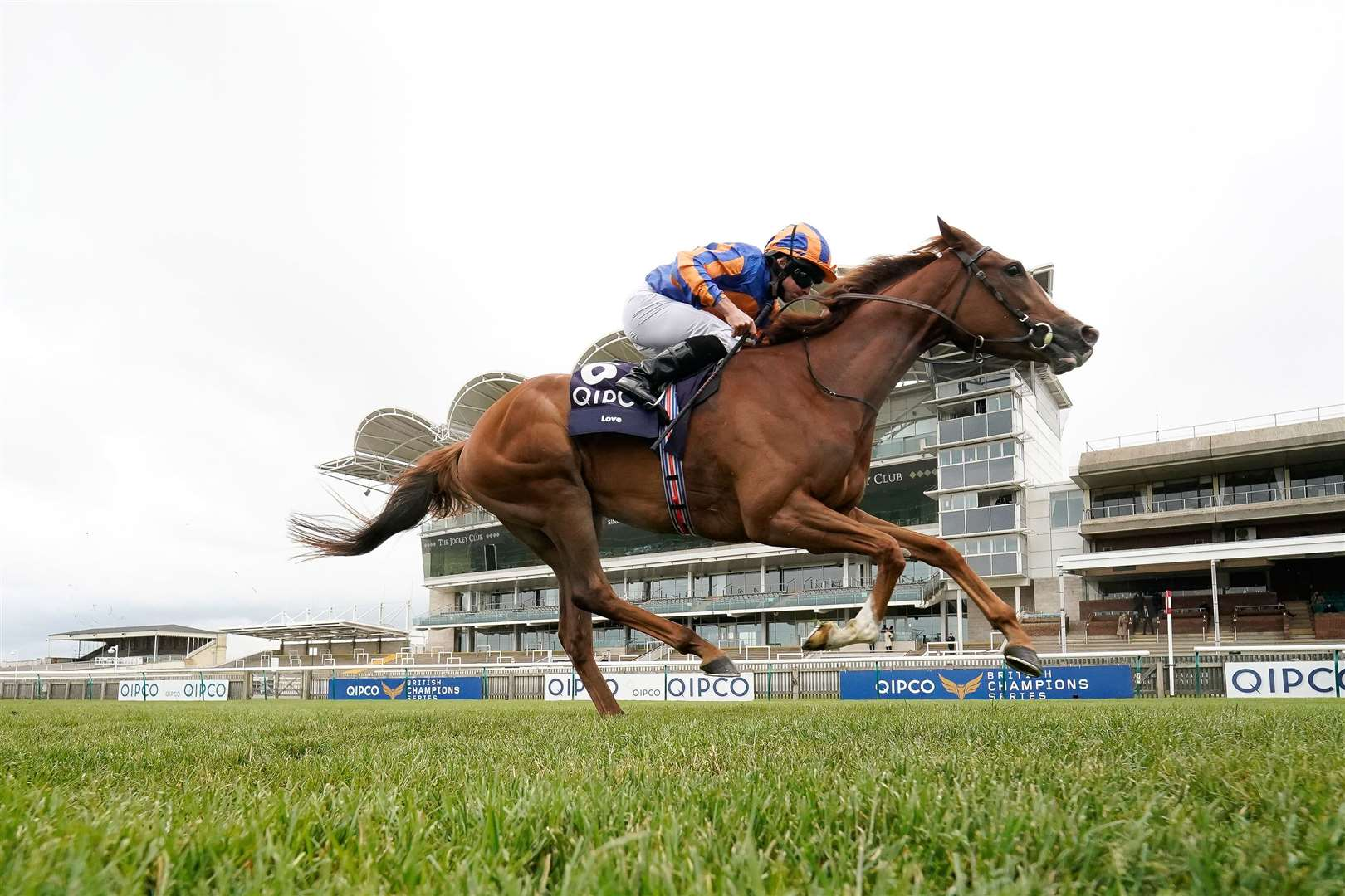 NEWMARKET, ENGLAND - JUNE 07: Ryan Moore riding Love win The Qipco 1000 Guineas Stakes at Newmarket Racecourse on June 07, 2020 in Newmarket, England. (Photo by Alan Crowhurst/Getty Images). (36301615)