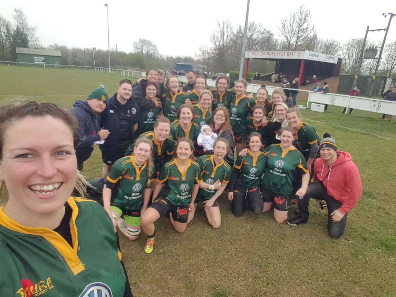 Bury Foxes are all smiles at Wellingborough RFC as they celebrate their promotion with a selfie (8337940)