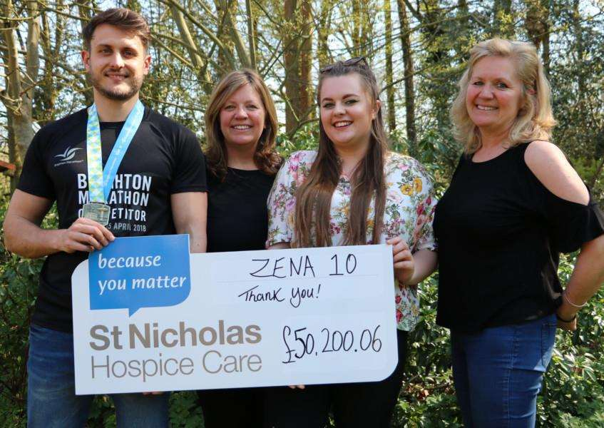 The Zena 10 fund-riaing campaign in memory of Zena Butcher has now passed the �50,000 mark