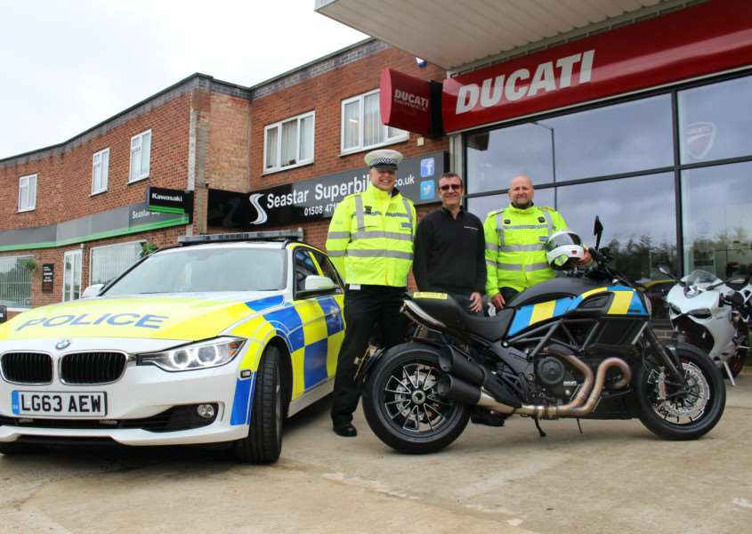Chief Inspector Chris Spinks, head of roads policing in Norfolk and Suffolk, Seastar managing director Vince Vrinten, and Inspector Darren Elliott.