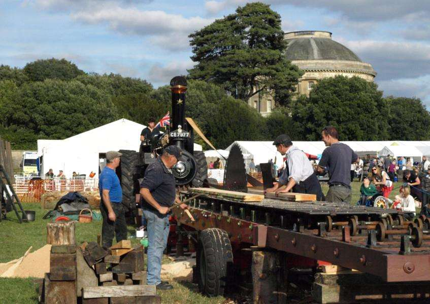 A traction engine drives a saw bench at last year's Ickworth Wood Fair'Picture: National Trust/Ray Dale ANL-150610-154257001