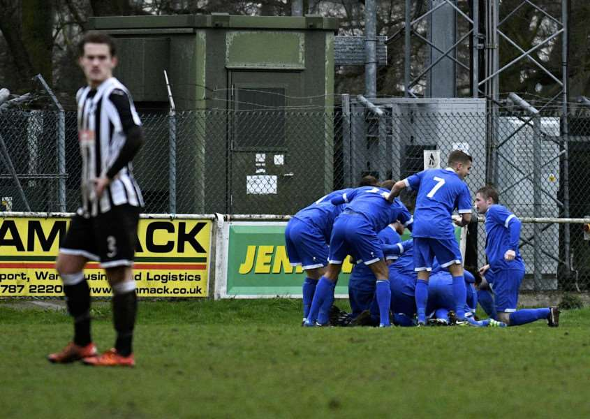Haverhill Celebrate their second goal. Picture: MARK BULLIMORE