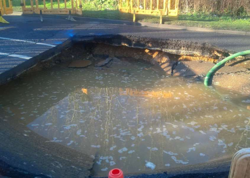 Sinkhole in Newton Road, Sudbury. Photo: Anglian Water.