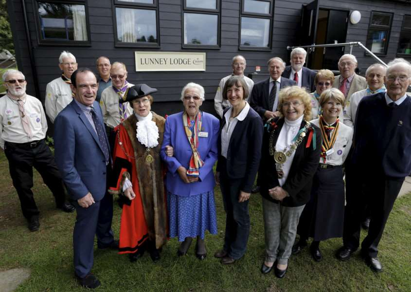 Bradfield Combust, Suffolk. Naming of Lunney Lodge which has just been externally refurbished through fund-raising and donations at the Bradfield Combust Scout camp site. Pictured front from left Cllr Terry Clements, Mayor of St Edmundsbury Julia Wakelam, Claire Lunney, Dr Rachel Lunney and Mayor of Sudbury Sue Ayres.''Picture: MARK BULLIMORE ANL-160810-223950009