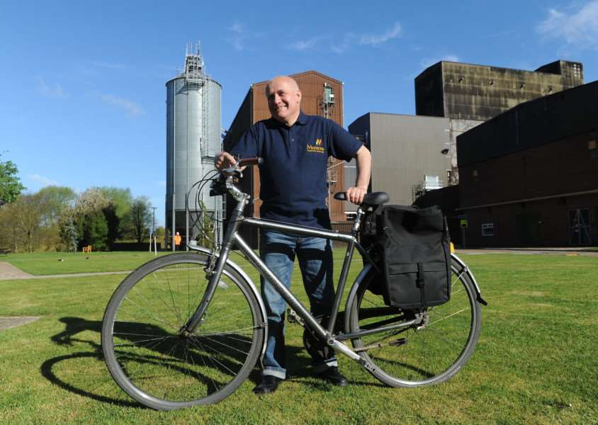 Keith Riches, laboratory team leader at Muntons, is retiring after 50 years. He travels to work from Stowupland on his bike every day. ''''PICTURE: Mecha Morton