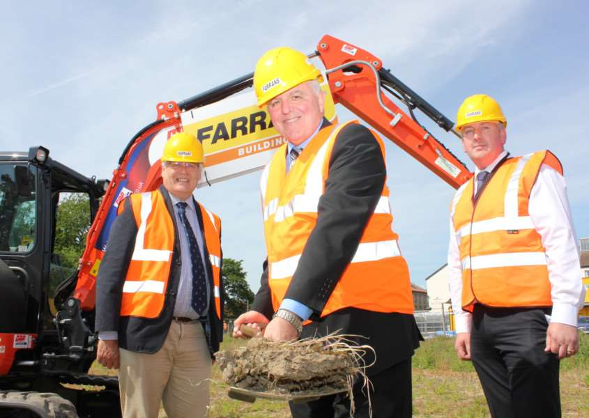 Land Group Director David Winch, leader of Breckland Council Cllr Michael Wassell and Phil Browne from Farrans Construction at the groundbreaking ceremony ANL-151206-112733001