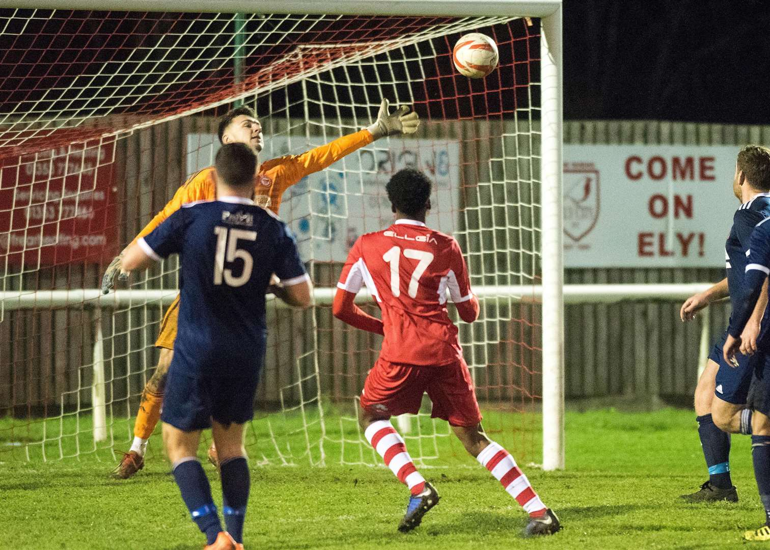 Football 3pm at Ely: Ely City v Haverhill Rovers Harry Daniels bags a goal for Ely Picture Mark Westley. (6245873)
