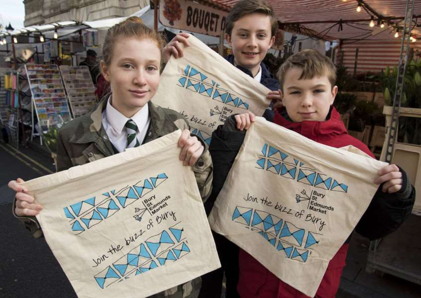 Bury Market bag''Designs by St Benedict's School year seven pupils Louise Ollett, Joseph Bidewell and William Russell.'''Picture Mark Westley ANL-171101-150858009