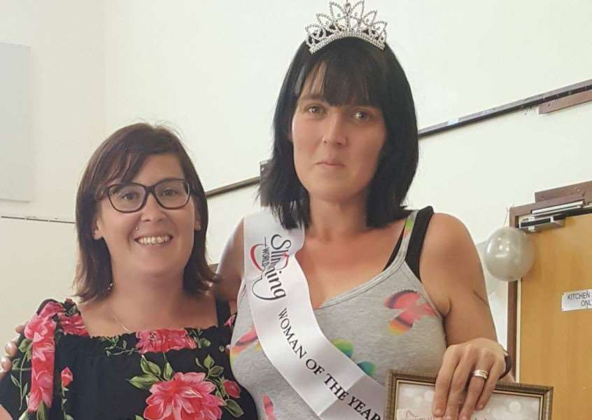 Great Cornard's Slimming World Woman of the Year for 2017, Zoe O'Mahoney (right), with Slimming World consultant and team developer Kath Hampshire.