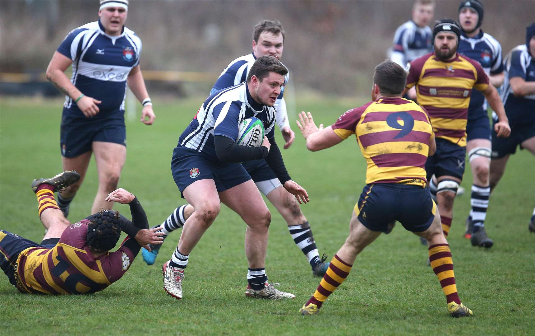 Harry Maile, pictured on the ball for Sudbury II, set up one try and scored the Blues' other at Amersham & Chiltern