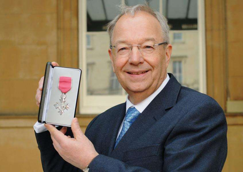 Richard Carter with his MBE which he received at Buckingham Palace from HRH the Duke of Cambridge.